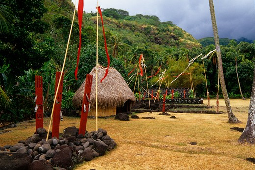 FRENCH POLYNESIA, SOCIETY ISLANDS, TAHITI, MARAE ARAHURAHU : Stock Photo