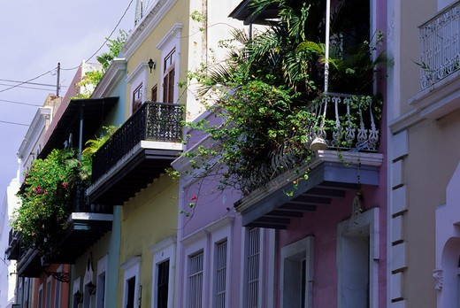 Stock Photo: 4163-17616 PUERTO RICO, OLD SAN JUAN, COLONIAL ARCHITECTURE