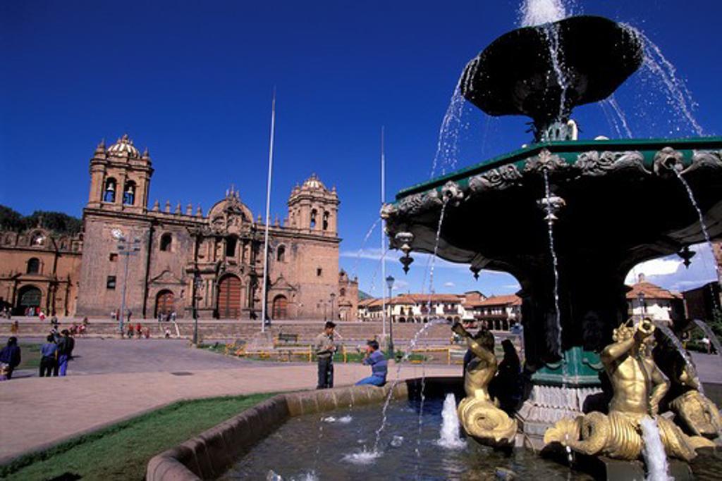 Stock Photo: 4163-18028 PERU, CUZCO, MAIN SQUARE, CATHEDRAL, FOUNTAIN
