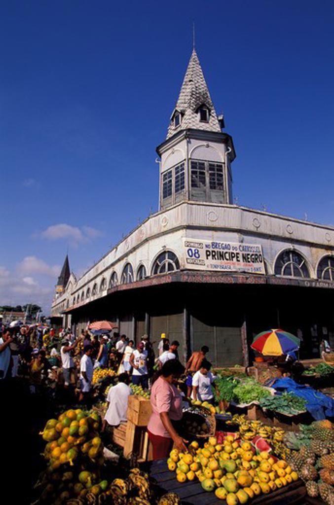 Stock Photo: 4163-18320 BRAZIL, AMAZON RIVER, BELEM, MARKET (VER-O-PESO), PINEAPPLES AND MANGOS