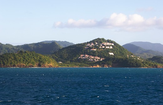 ST. LUCIA ISLAND, VIEW OF ISLAND, HOUSING DEVELOPMENT : Stock Photo