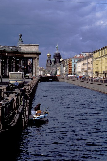 Stock Photo: 4163-19532 RUSSIA, ST. PETERSBURG, KANAL GRIBOYEDOVA WITH REDEMPTION CHURCH