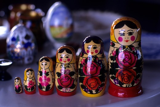 RUSSIA, RUSSIAN SOUVENIRS, MATRUSCHKA DOLLS : Stock Photo