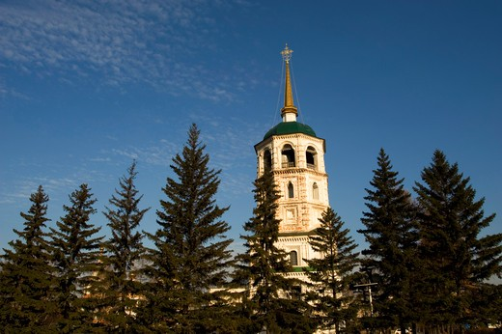 RUSSIA, SIBERIA, IRKUTSK, KIROV SQUARE, SAVIOR CHURCH : Stock Photo
