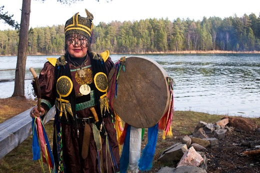 Stock Photo: 4163-19834 RUSSIA, SIBERIA, NEAR IRKUTSK, BURYAT SHAMAN PERFORMING CEREMONY