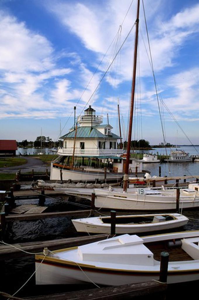 Usa, Maryland, Chesapeake Bay, St. Michaels, Maritime Museum, Boats And Lighthouse : Stock Photo