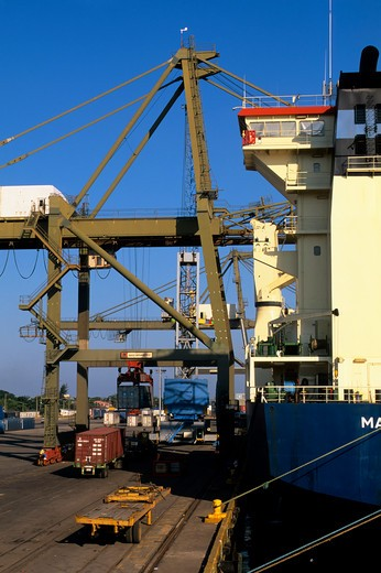 Stock Photo: 4163-20575 Honduras, Puerto Cortes, Port, Container Ship Being Loaded