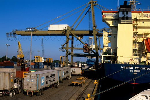 Stock Photo: 4163-20576 Honduras, Puerto Cortes, Port, Container Ship Being Loaded