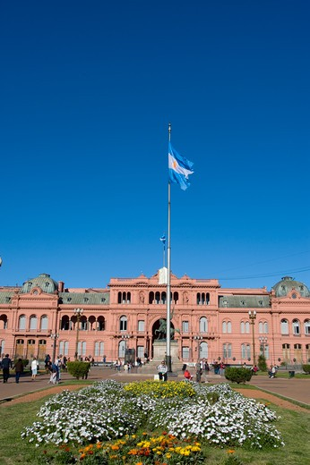 Stock Photo: 4163-20650 Argentina, Buenos Aires, Plaza De Mayo, Casa Rosada (The Pink House), Government Building