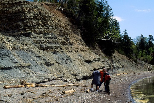 Stock Photo: 4163-20683 Canada, Quebec, Gaspe, Miguasha National Park, Cliffside Where Fossils Are Being Found