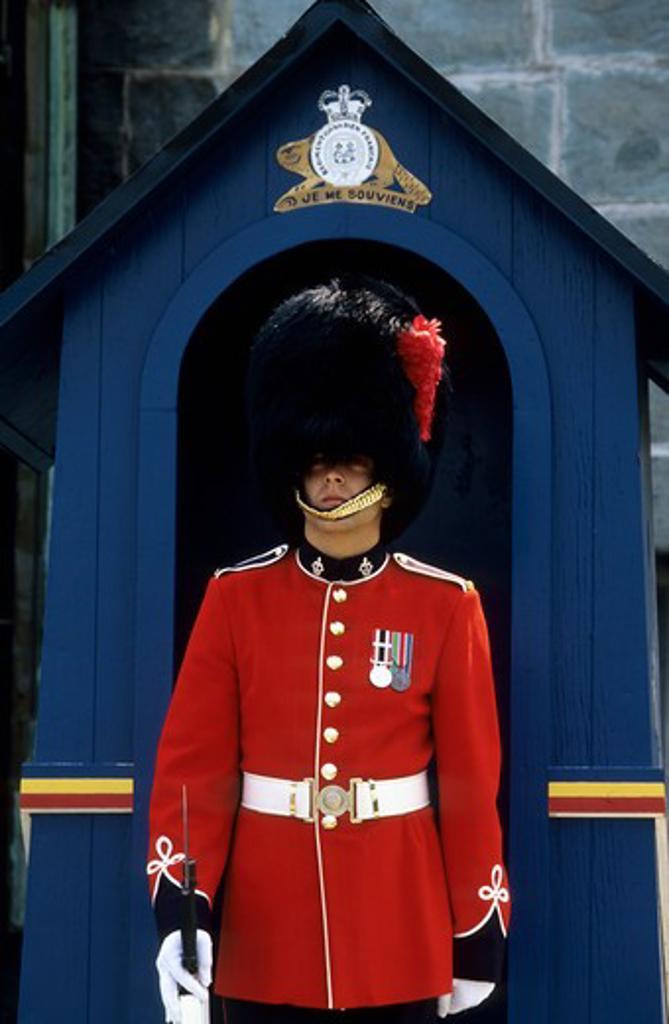Canada, Quebec City, Citadel, Entrance, Guard, Close-Up : Stock Photo