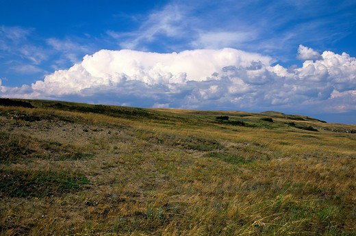 Stock Photo: 4163-20783 Canada, Alberta, Near Fort Macleod, Head-Smashed-In Buffalo Jump, Unesco, Prairie