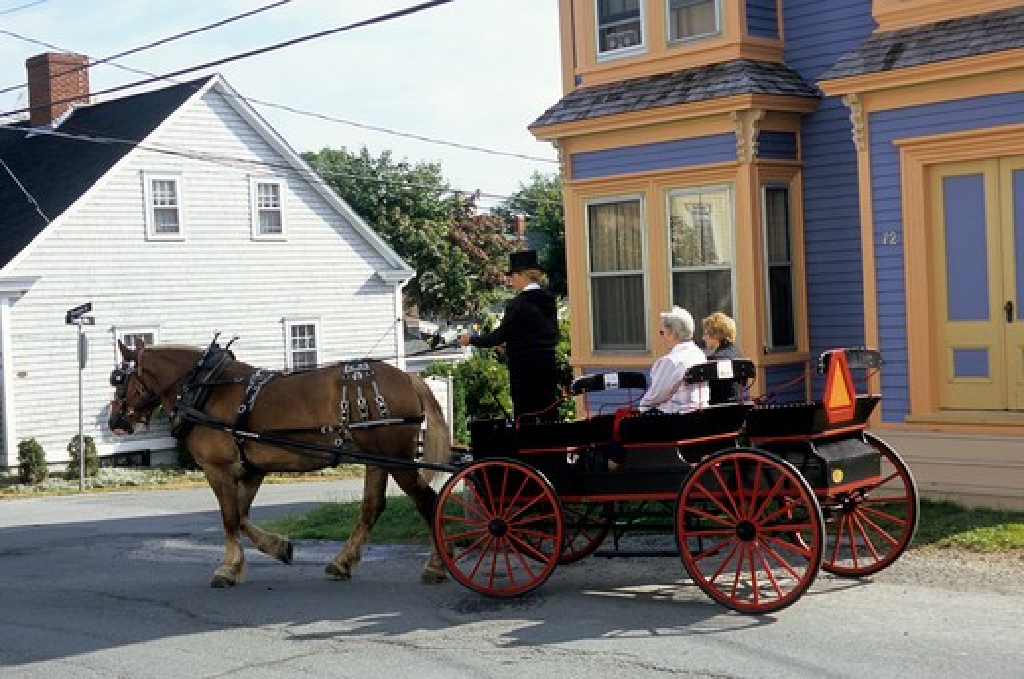 Stock Photo: 4163-20792 Canada, Nova Scotia, Lunenburg, Street Scene, Horse Carriage With Tourists