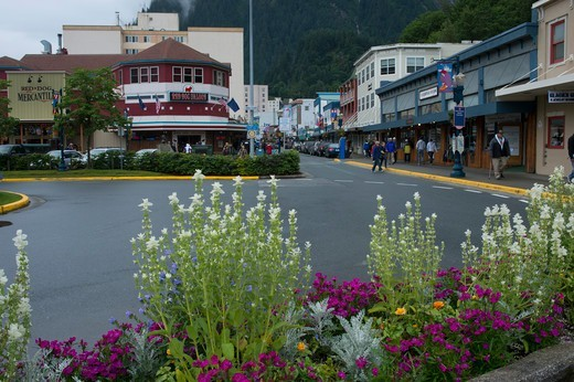 Stock Photo: 4163-21195 Street scene in downtown Juneau, Alaska, USA with the historic Red Dog Saloon
