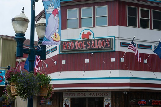 Detail of the historic Red Dog Saloon in downtown Juneau, Alaska, USA : Stock Photo