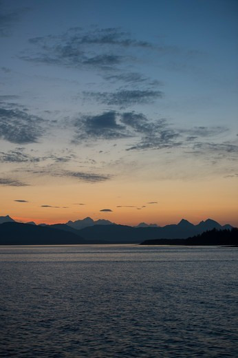 Stock Photo: 4163-21213 View of Fairweather Mountain range at sunset from the Sitakaday Narrows near Bartlett Cove, Glacier Bay National Park, Alaska, USA