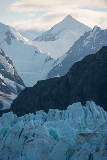 Stock Photo: 4163-21222 View of Margerie Glacier in Tarr Inlet with Fairweather Mountain Range in background, Glacier Bay National Park, Alaska, USA