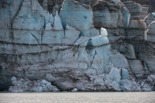 View of glacier face of Lamplugh Glacier in Johns Hopkins Inlet in Glacier Bay National Park, Alaska, USA : Stock Photo