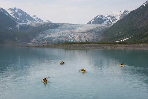 Stock Photo: 4163-21239 People kayaking with Reid Glacier in background, Glacier Bay National Park, Alaska, USA