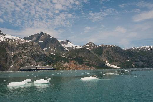 Holland America cruise ship MS Westerdam in Glacier Bay National Park, Alaska, USA : Stock Photo