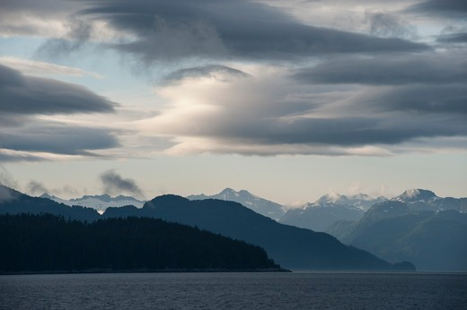 Stock Photo: 4163-21291 Evening light over Icy Strait viewed from Chichagof Island, Tongass National Forest, Alaska, USA