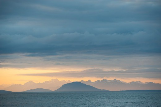 Stock Photo: 4163-21293 Evening light over Icy Strait viewed from Chichagof Island, Tongass National Forest, Alaska, USA