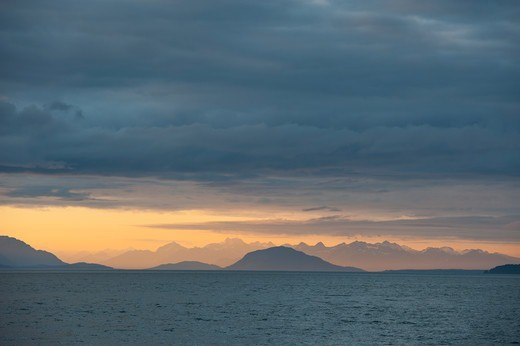 Evening light over Icy Strait viewed from Chichagof Island, Tongass National Forest, Alaska, USA : Stock Photo