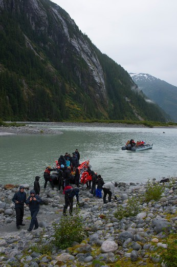 Stock Photo: 4163-21316 Hikers at Baird Glacier in Scenery Cove, Thomas Bay, Tongass National Forest, Alaska, USA