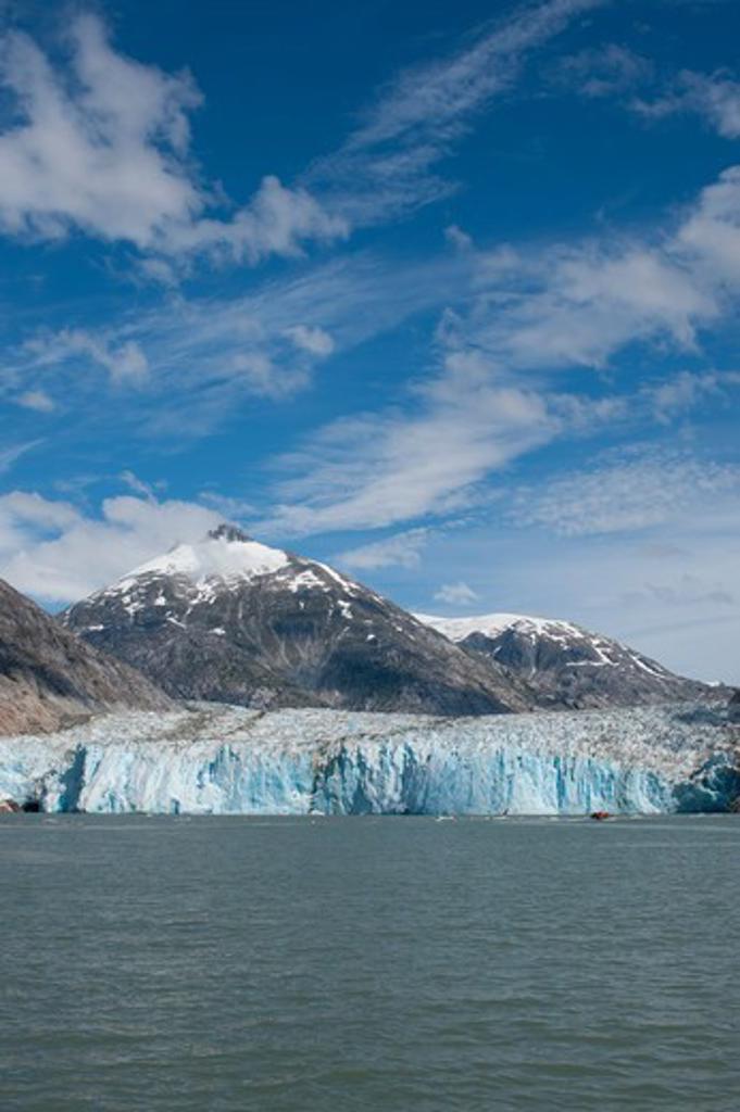View of Dawes Glacier, a tidal glacier, Endicott Arm, Tongass National Forest, Alaska, USA : Stock Photo