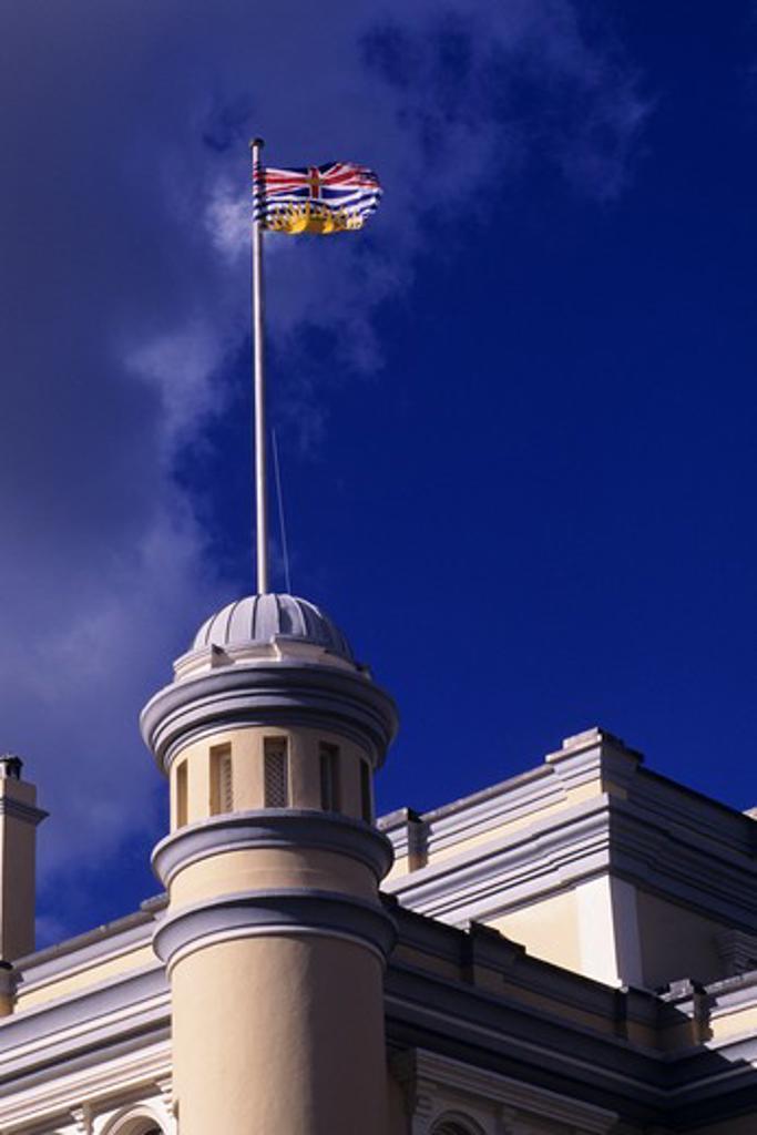 Stock Photo: 4163-2653 CANADA, B.C.,VANCOUVER IS. VICTORIA, MARITIME MUSEUM, B.C. FLAG