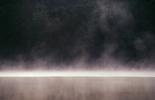 USA, MAINE, NEAR STRATTON, LITTLE JIM POND, EARLY MORNING, FOG RISING : Stock Photo