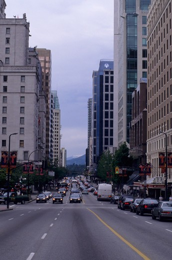 Stock Photo: 4163-2788 CANADA, BRITISH COLUMBIA, VANCOUVER, DOWNTOWN, STREET SCENE