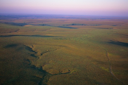 USA, KANSAS, FLINT HILLS, NEAR COTTONWOOD FALLS, AERIAL VIEW OF TALLGRASS PRAIRIE : Stock Photo