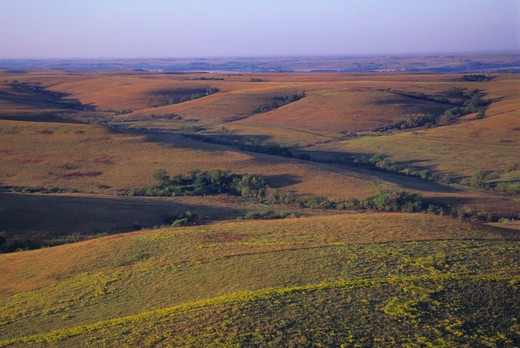 Stock Photo: 4163-2956 USA, KANSAS, FLINT HILLS, NEAR COTTONWOOD FALLS, AERIAL VIEW OF TALLGRASS PRAIRIE
