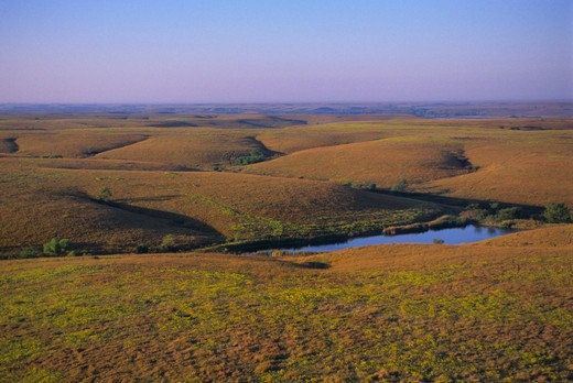 Stock Photo: 4163-2957 USA, KANSAS, FLINT HILLS, NEAR COTTONWOOD FALLS, AERIAL VIEW OF TALLGRASS PRAIRIE