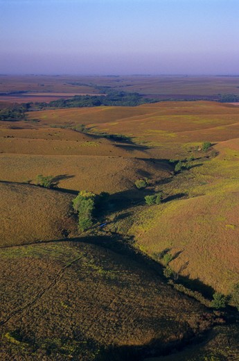 Stock Photo: 4163-2961 USA, KANSAS, FLINT HILLS, NEAR COTTONWOOD FALLS, AERIAL VIEW OF TALLGRASS PRAIRIE
