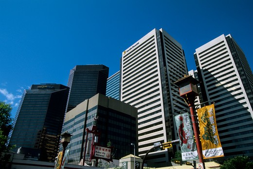Stock Photo: 4163-3914 CANADA, ALBERTA, CALGARY, CHINATOWN, DOWNTOWN IN BACKGROUND