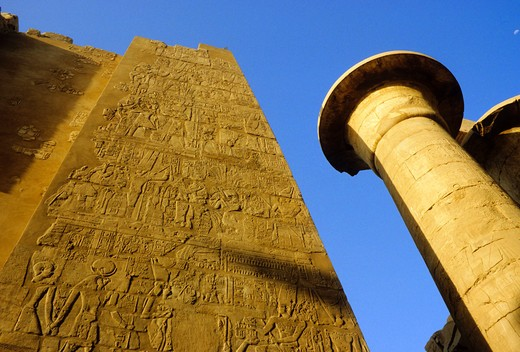 EGYPT, LUXOR, TEMPLE OF KARNAK, ANCIENT EGYPTIAN HIEROGLYPHICS : Stock Photo