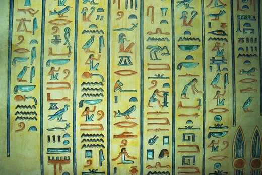 Stock Photo: 4163-6031 EGYPT, NEAR LUXOR, VALLEY OF THE QUEENS, INTERIOR WALL FRESCOES OF QUEEN AMONHERKHEPSEF'S TOMB, HIEROGLYPHS