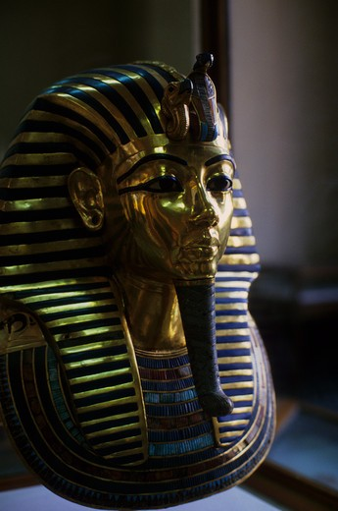 Stock Photo: 4163-7114 EGYPT, CAIRO, EGYPTIAN MUSEUM OF ANTIQUITIES, TUTANKHAMUN'S GOLD MASK