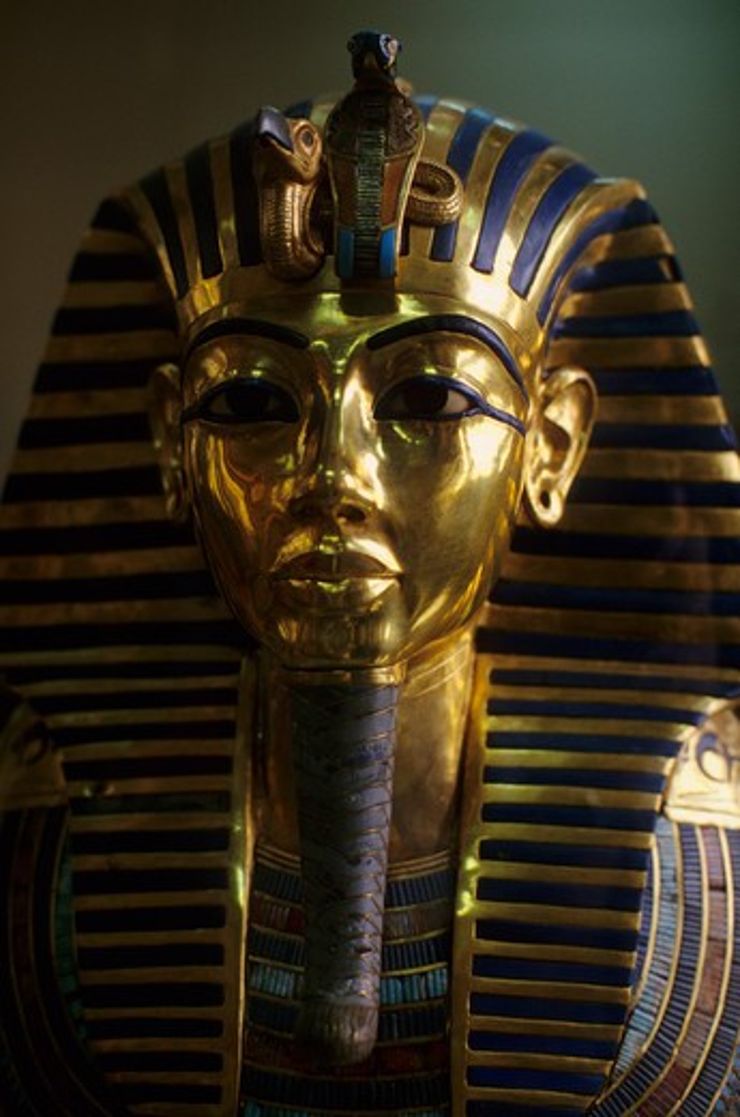 EGYPT, CAIRO, EGYPTIAN MUSEUM OF ANTIQUITIES, TUTANKHAMUN'S GOLD MASK, CLOSE-UP : Stock Photo