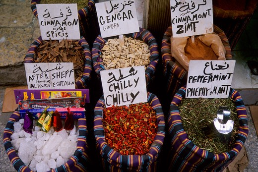 Stock Photo: 4163-7135 EGYPT, OLD CAIRO, BAZAAR SCENE, SPICES, CHILI PEPPERS