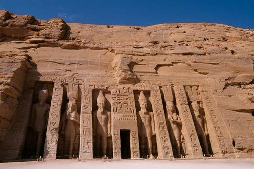 Stock Photo: 4163-7220 EGYPT, ABU SIMBEL, SMALL TEMPLE OF ABU SIMBEL, FACADE, RAMSES II AND NEFERTARI-HATHOR