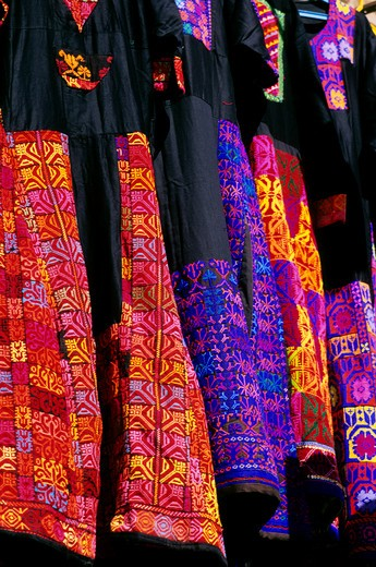 EGYPT, ASWAN, TRADITIONAL NUBIAN DRESSES FOR SALE : Stock Photo