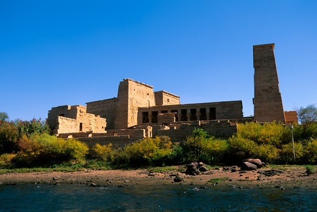 EGYPT, ASWAN, NILE RIVER, AGILKIA ISLAND, VIEW OF TEMPLE OF PHILAE : Stock Photo