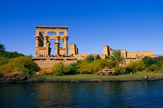 Stock Photo: 4163-7243 EGYPT, ASWAN, NILE RIVER, AGILKIA ISLAND, VIEW OF TEMPLE OF PHILAE