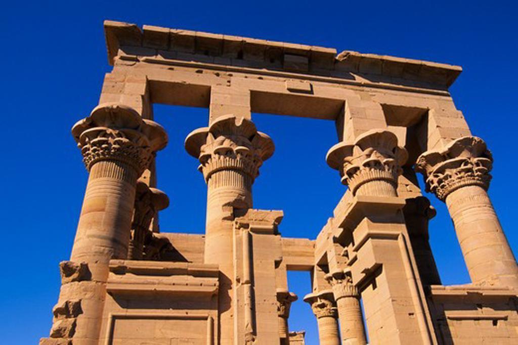 EGYPT, ASWAN, NILE RIVER, AGILKIA ISLAND, TEMPLE OF PHILAE, KIOSK OF TRAJAN : Stock Photo