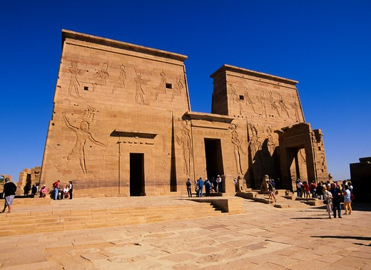 Stock Photo: 4163-7246 EGYPT, ASWAN, NILE RIVER, AGILKIA ISLAND, TEMPLE OF ISIS, FIRST PYLON