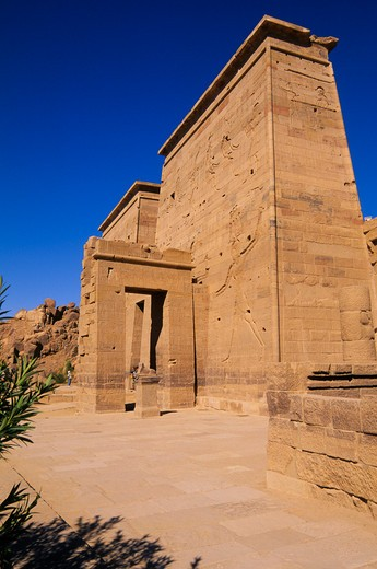Stock Photo: 4163-7247 EGYPT, ASWAN, NILE RIVER, AGILKIA ISLAND, TEMPLE OF ISIS, FIRST PYLON