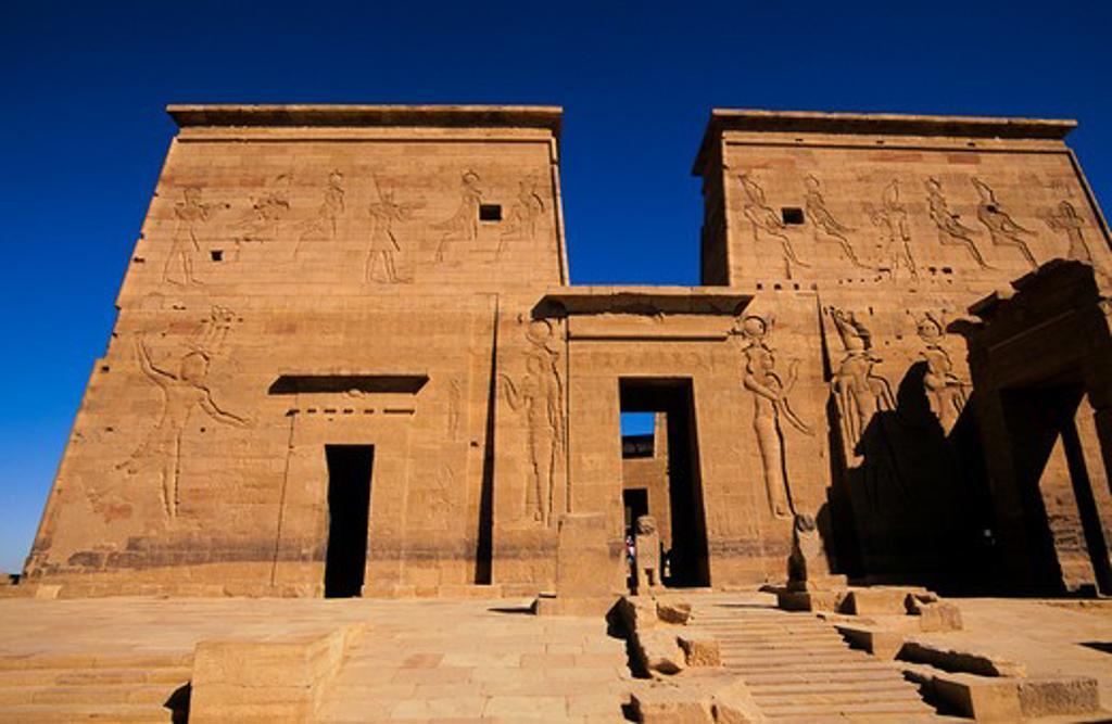 EGYPT, ASWAN, NILE RIVER, AGILKIA ISLAND, TEMPLE OF ISIS, FIRST PYLON : Stock Photo